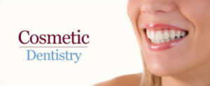 A picture of a woman smiling with the words cosmetic dentistry next to her